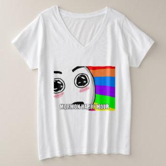 Amazed Mormon Happy Hour Plus Size V-Neck T-Shirt