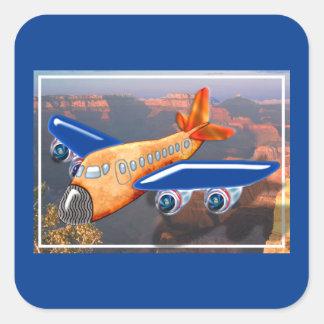 Amazing Airplane Aerial View Square Sticker