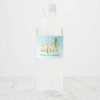 Amazing Aqua Glitter, Sweet 16 Water Bottle Label