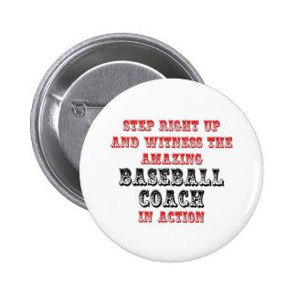 Amazing Baseball Coach In Action 6 Cm Round Badge
