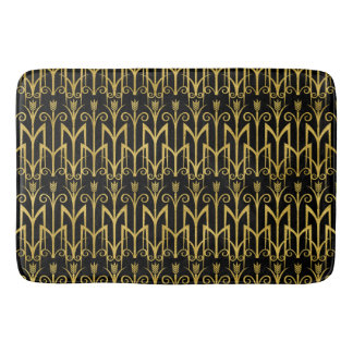 Amazing Black-Gold Art Deco Design Bath Mat