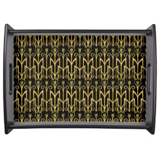 Amazing Black-Gold Art Deco Design Serving Tray
