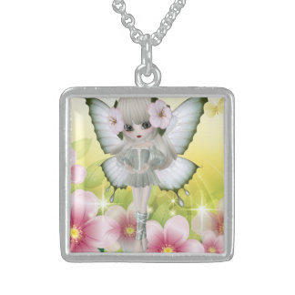 Amazing Blond Princess Fairy Girl Square Pendant Necklace