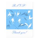 Amazing blue floral flower design postcard