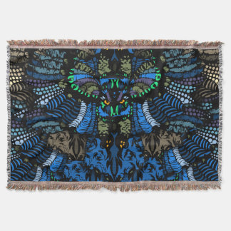 Amazing Blue Owl Throw Blanket