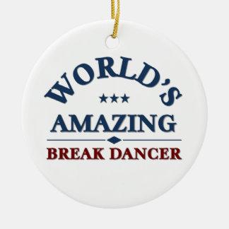 Amazing Break Dancer Round Ceramic Decoration