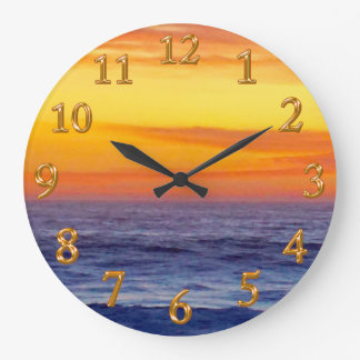 Amazing Burning Sunset Beach Clock