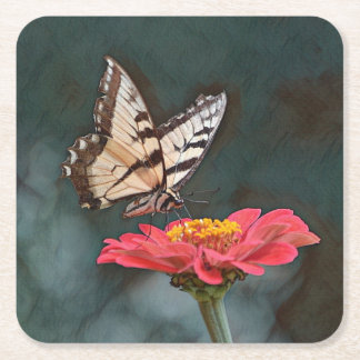 Amazing Butterfly Square Paper Coaster