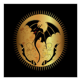 Amazing dragon in gold and black