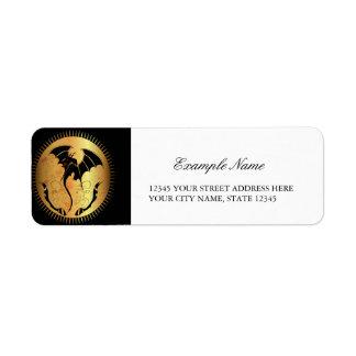 Amazing dragon in gold and black return address label