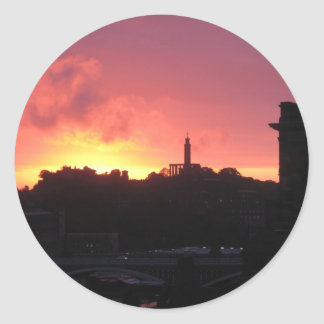 amazing edinburgh sunrise classic round sticker
