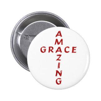 Amazing Grace Cross Button