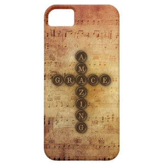 Amazing Grace Cross on Aged Vintage Sheet Musical iPhone 5 Cases