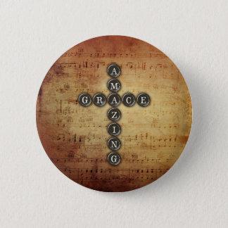 Amazing Grace Cross on Vintage Music Sheet 6 Cm Round Badge