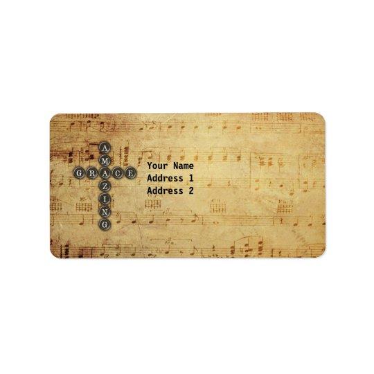 Amazing Grace Cross on Vintage Music Sheet Custom Address Label