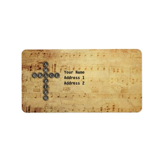 Amazing Grace Cross on Vintage Music Sheet Custom Label