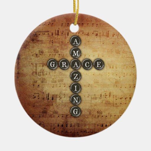 Amazing Grace Cross on Vintage Music Sheet Christmas Tree Ornament