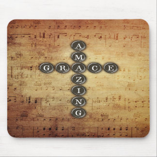 Amazing Grace Cross on Vintage Music Sheet Mouse Pad