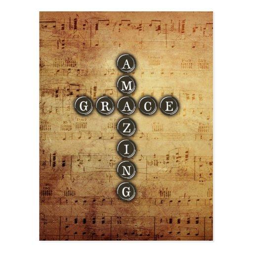 Amazing Grace Cross on Vintage Music Sheet Postcards