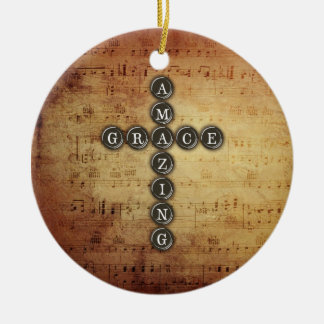 Amazing Grace Cross on Vintage Music Sheet Round Ceramic Decoration