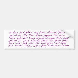 Amazing Grace handwritten lyrics Bumper Sticker