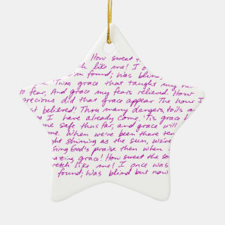 Amazing Grace handwritten lyrics Ceramic Star Decoration