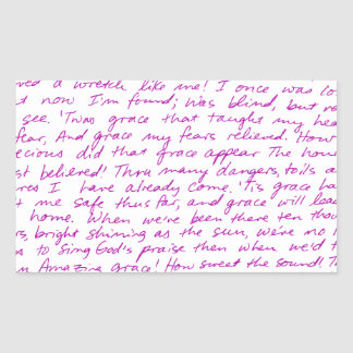 Amazing Grace handwritten lyrics Rectangular Sticker