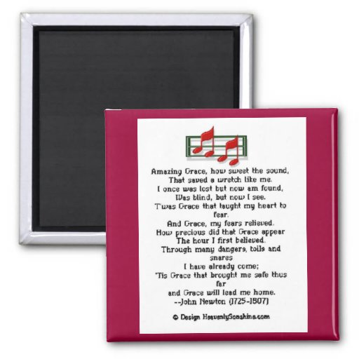 Amazing Grace Hymn Refrigerator Magnets