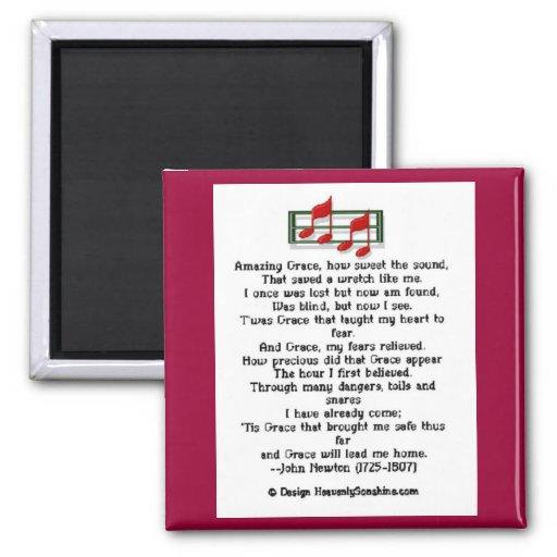 Amazing Grace Hymn Refrigerator Magnets