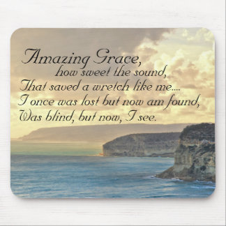 Amazing Grace Hymn Ocean Sunset Mousepad