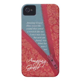Amazing Grace Hymn - Red Floral Zipper Pull Design iPhone 4 Case-Mate Case