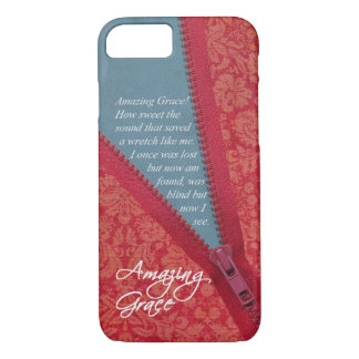 Amazing Grace Hymn - Red Floral Zipper Pull Design iPhone 7 Case