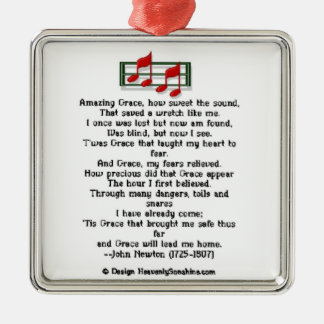 Amazing Grace Hymn Silver-Colored Square Decoration