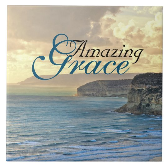 Amazing Grace Ocean View Sunset, Large Square Tile