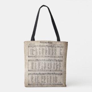 Amazing Grace Vintage Hymn Music Tote Bag