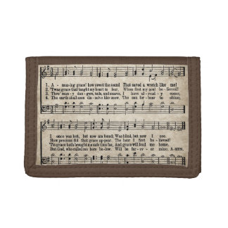Amazing Grace Vintage Hymn Sheet Music Wallet