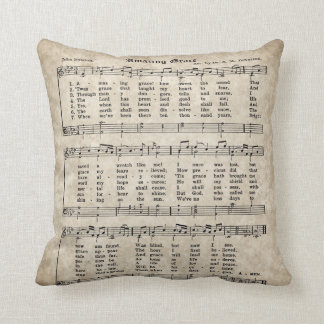 Amazing Grace Vintage Style Hymn Pillow