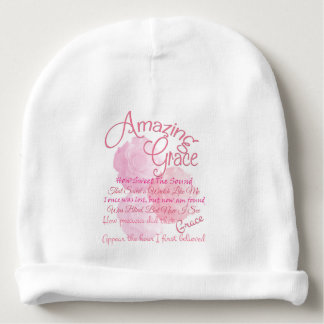 Amazing Grace With Beautiful Pink Roses Baby Beanie