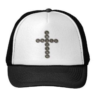 Amazing Grace Word Art Cross Mesh Hats