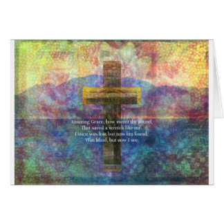Amazing Grace words with scenic Christian painting Card