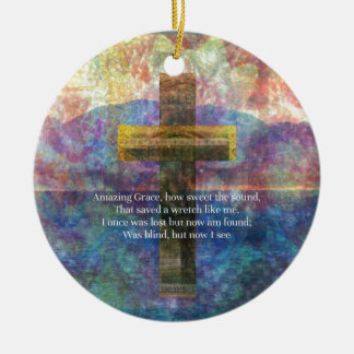 Amazing Grace words with scenic Christian painting Christmas Ornament