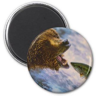 Amazing grizzly bear salmon image fridge magnet