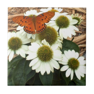 Amazing Gulf Fritillary Butterfly on Echinacea Small Square Tile