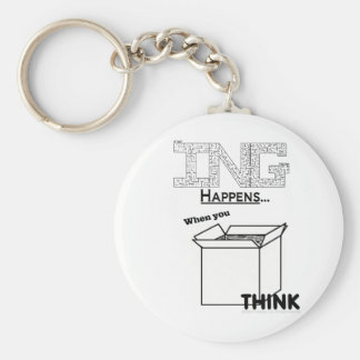 Amazing Happens When You Think Outside The Box Basic Round Button Key Ring