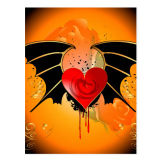 Amazing heart with dragon and wings postcard