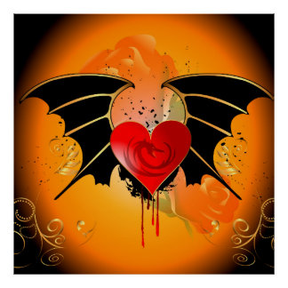 Amazing heart with dragon and wings poster