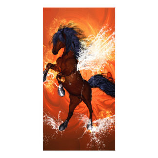 Amazing horse with fire and water customized photo card