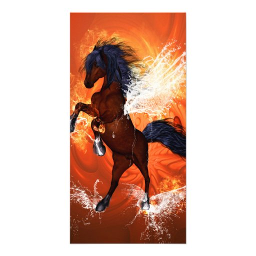 Amazing horse with fire and water photo greeting card