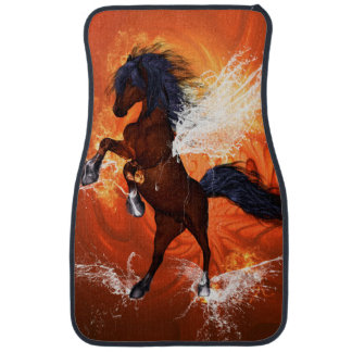 Amazing horse with fire and water splash car mat