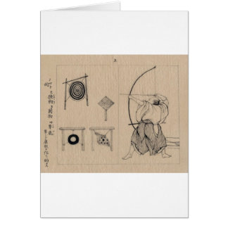 Amazing Japanese Archer Drawing circa 1878 Greeting Cards